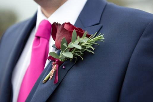 rose & red velvet buttonhole rosemary