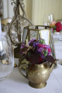 brass teapot table centre