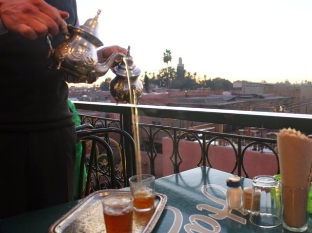 Mint tea in a cafe overlooking Jemaa el Fna square, Marrakech