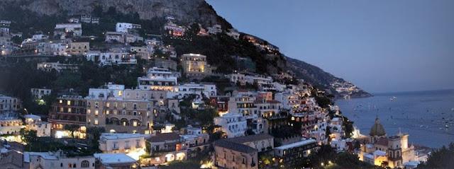 Positano panorama at night