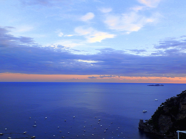Positano, sunset over Li Galli islands