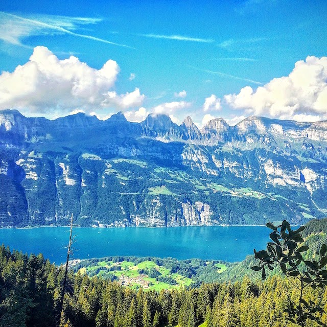 Swiss mountains and lake in summer