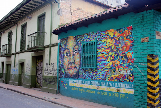 Colorful streets in La Candelaria, Bogota, Colombia