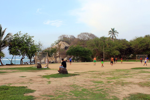 Football at El Cabo, Tayrona National Park, Colombia