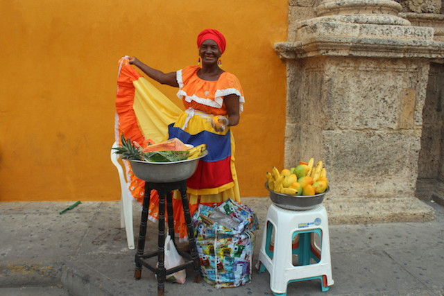 Maria in front of Santo Domingo church in Cartagena, Colombia