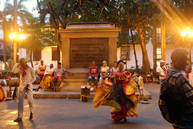 Dancers in Bolivar square in Cartagena, Colombia