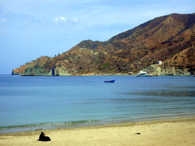 Morning walk on the beach in Taganga, Colombia
