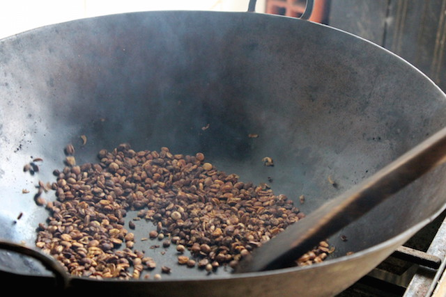 Making our own coffee at the Plantation House in Salento, Colombia