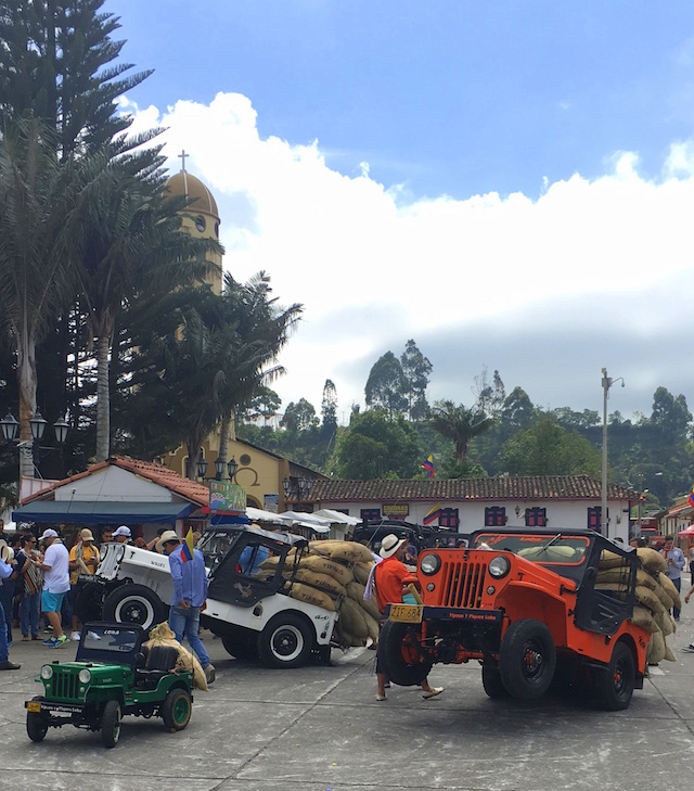 Car show in the main square in Salento, Colombia