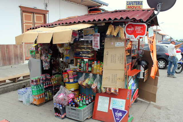 A food stall in the main square of Salento, Colombia