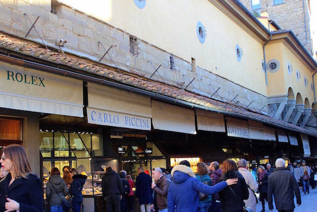 Jewelry shops on Ponte Vecchio in Florence