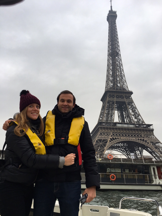 Obtaining our boating license in Paris, we trained on the Seine in front of the Eiffel Tower