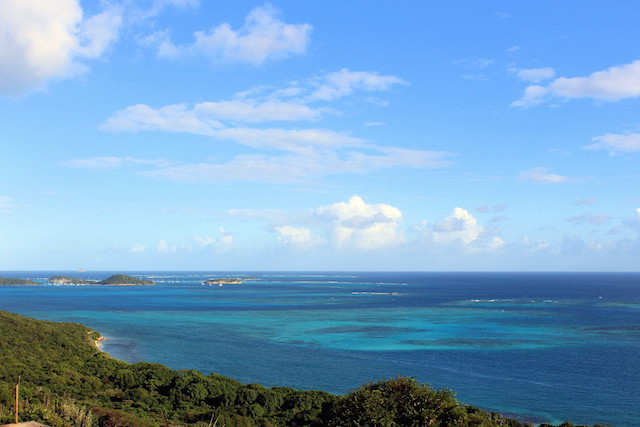 Panorama from the top of Mayreau island, the Grenadines