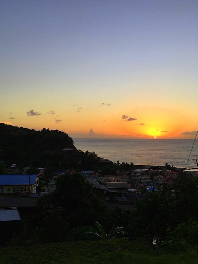 Caribbean sunset in St.Lucia