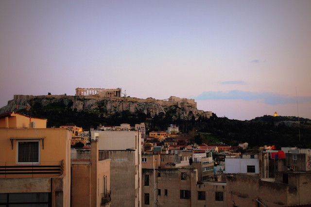 Sunset view over the Acropolis from the Attalos hotel rooftop