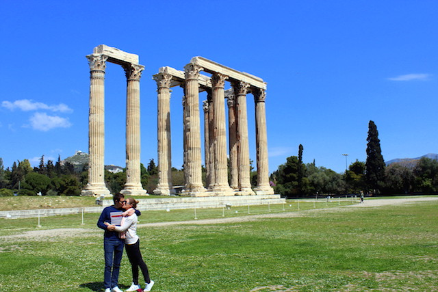 Visiting the Temple of Zeus in Athens