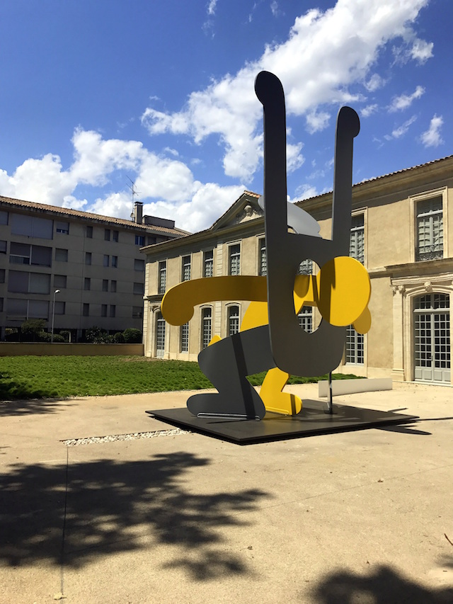 A giant Keith Haring statue at the museum of contemporary art of Avignon, France