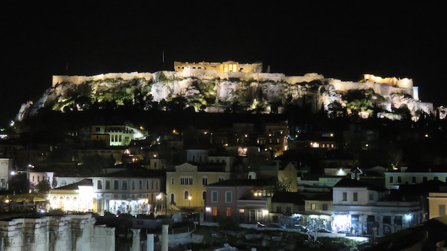 View of the Acropolis at nigh from 360 Cocktail Bar