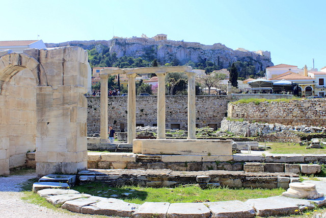 Visiting the Library of Adrian in Athens