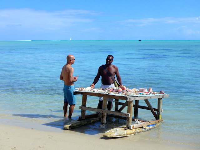 Souvenirs seller in Bénitiers island in Mauritius