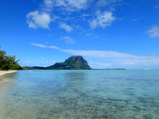 Walking on the beach on Bénitiers island in Mauritius