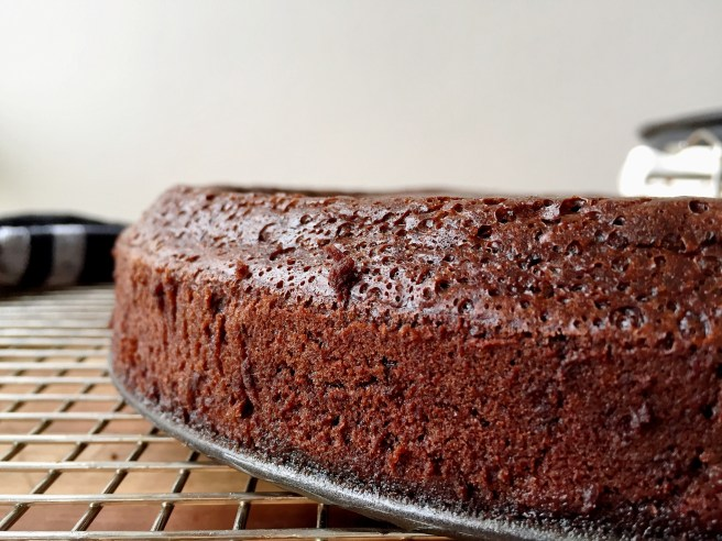 Flourless chocolate cake out of the oven