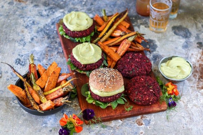 Freekeh Beet Burgers with Avonaise | The Secret Life of Bee