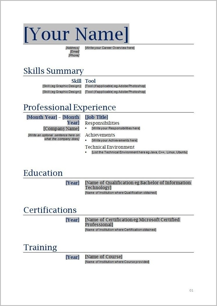 Free Printable Resume Templates Free Printable Resume Templates For Microsoft Word Templates 1