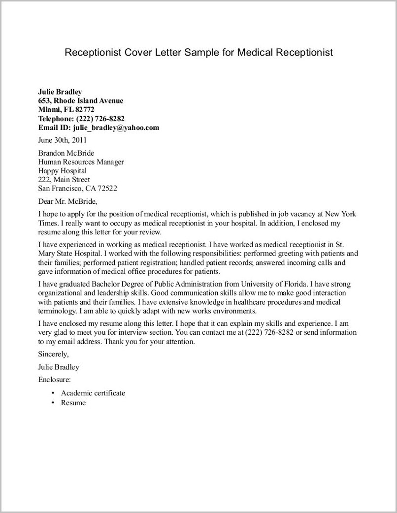 Free Sample Of Cover Letter Free Sample Cover Letter For Medical Receptionist Cover Letter