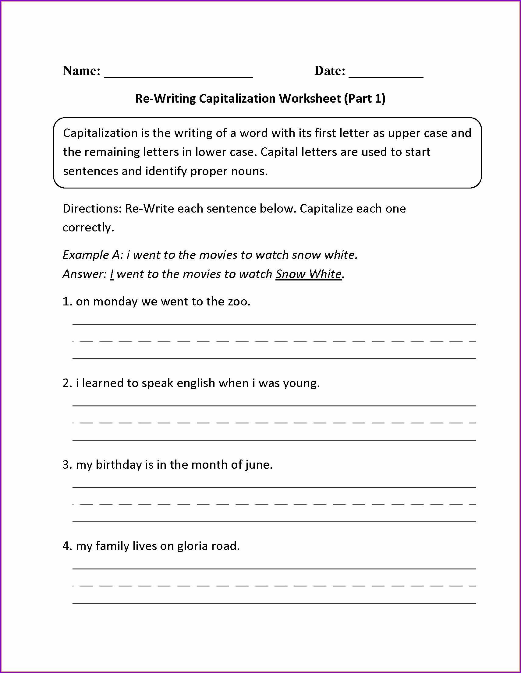 2nd Grade Worksheet On Capitalization Worksheet Resume