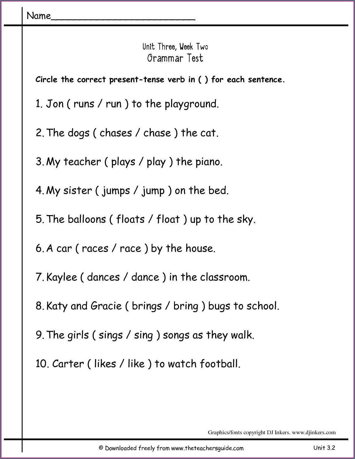 2nd Grade Grade 2 Verbs Worksheet Worksheet Resume Examples