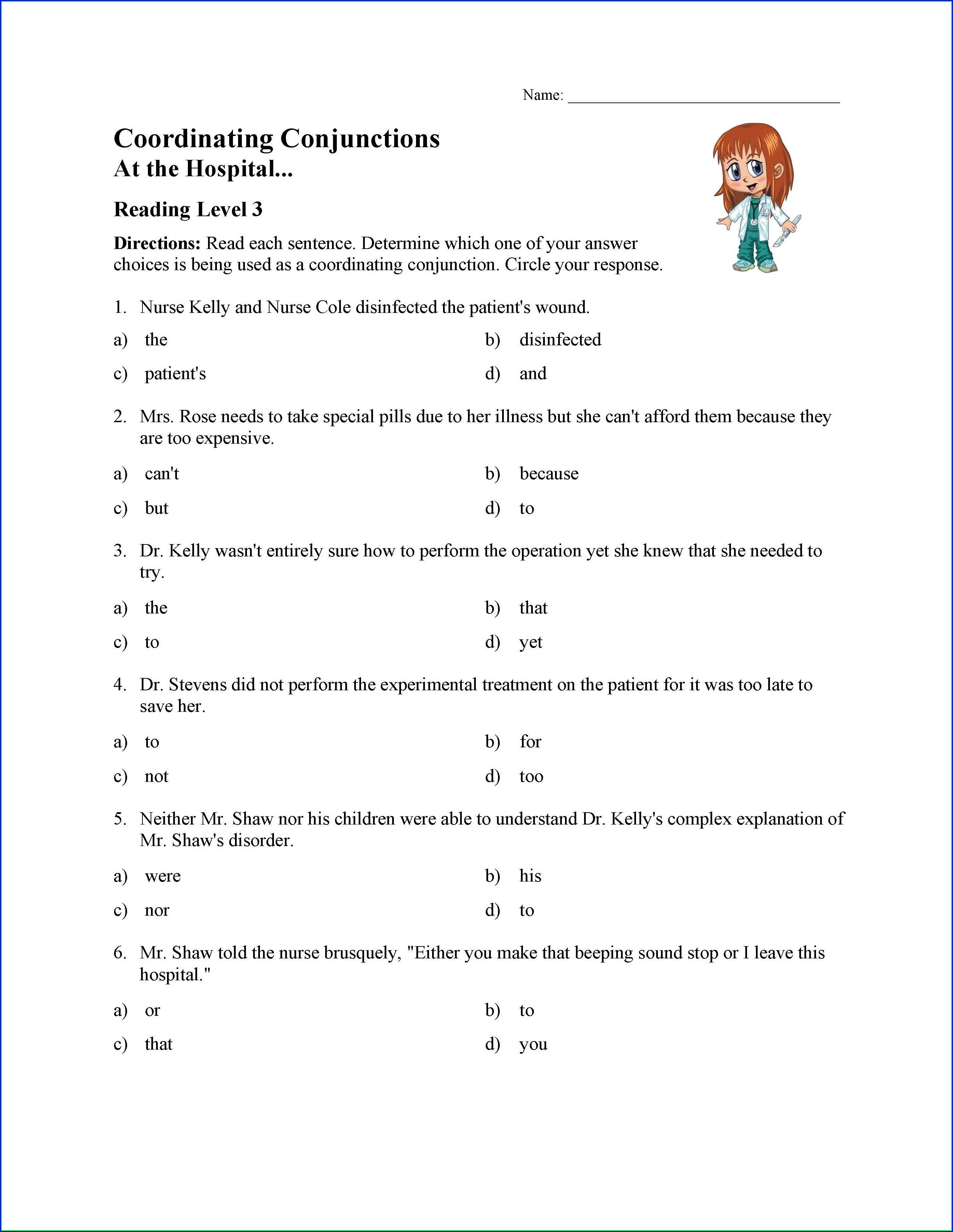 3rd Grade Subordinating Conjunctions Worksheet Worksheet
