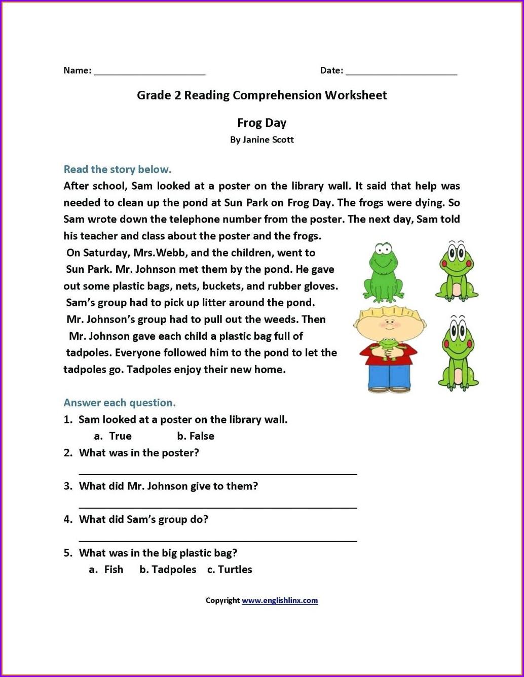 3rd Grade Reading Comprehension Worksheets For Grade 3