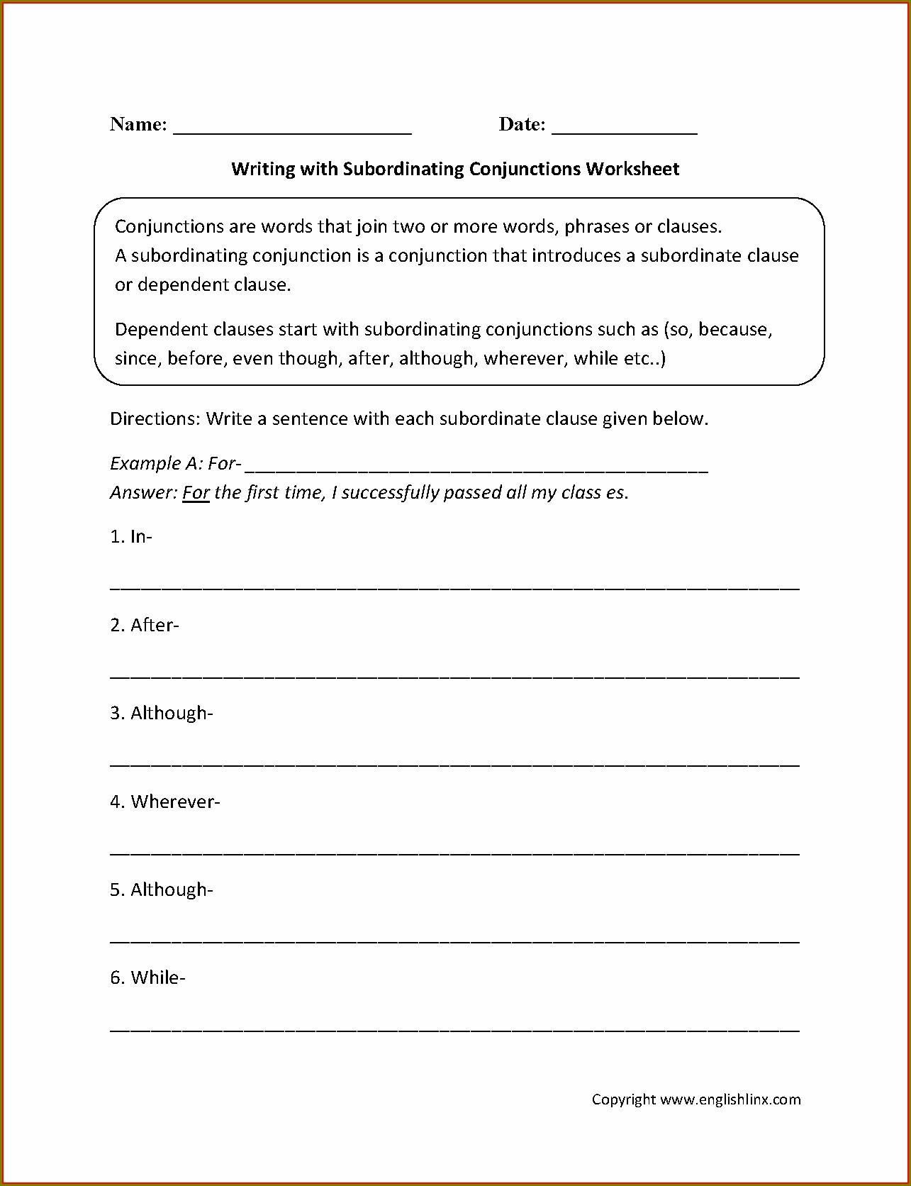 English Worksheets For Grade 5 Conjunctions Worksheet
