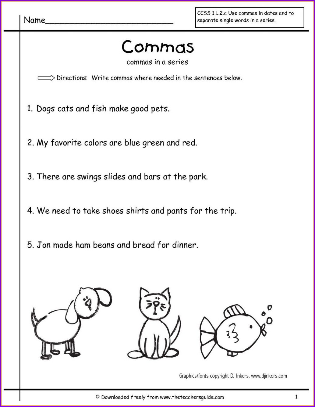 Free Practice Printable Worksheet Using Commas Worksheet