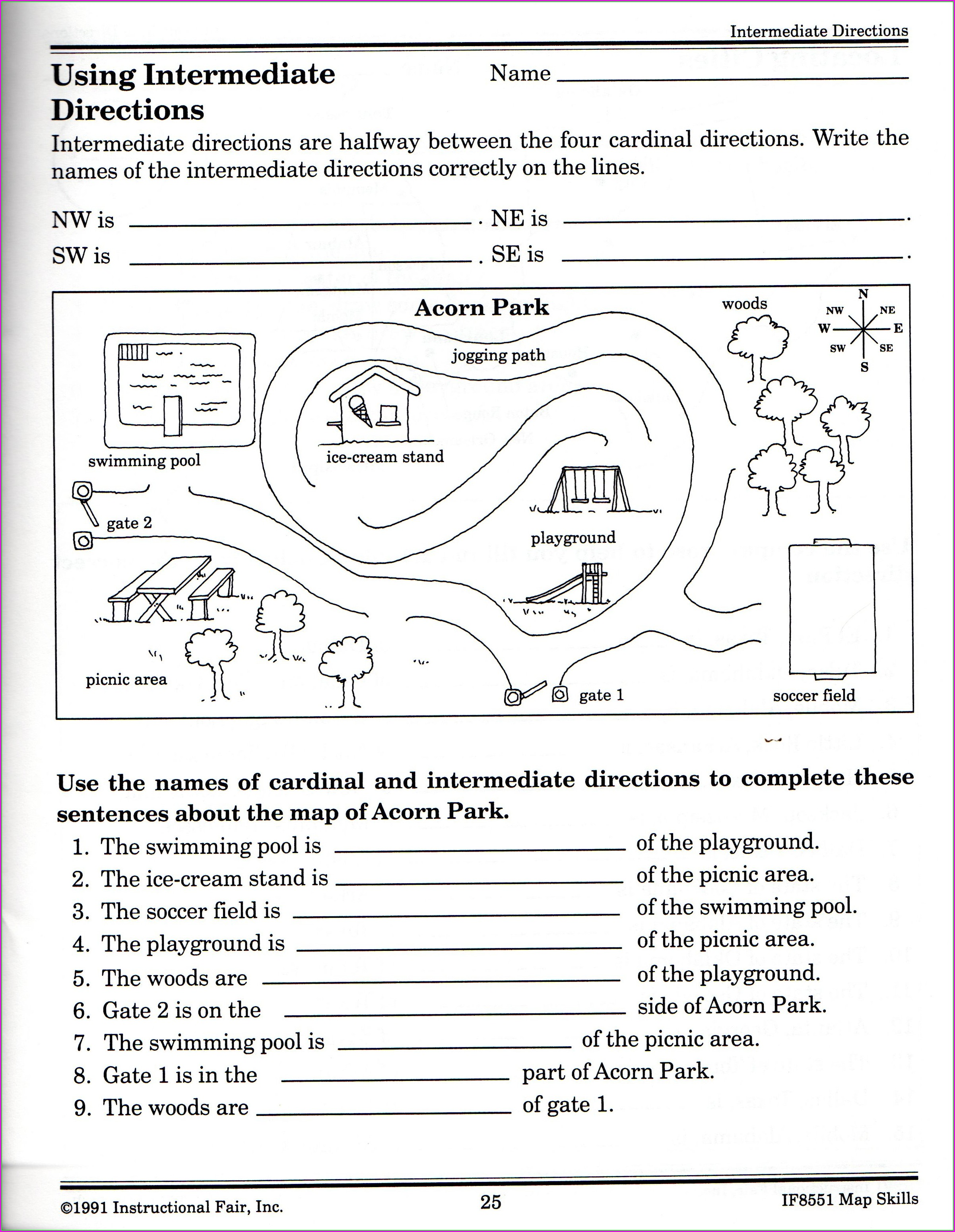 Maps And Cardinal Directions Worksheet Worksheet Resume