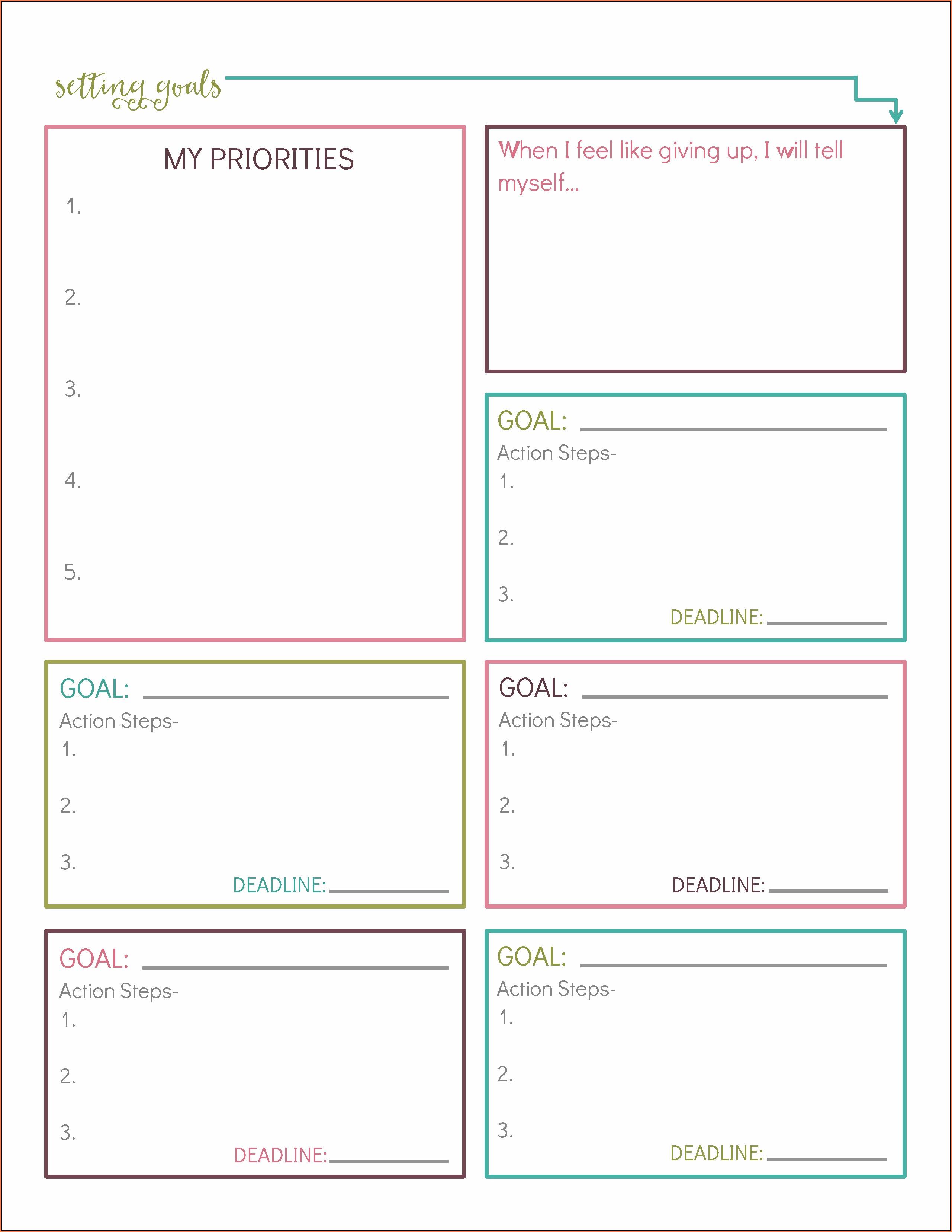 Us Army Goal Setting Worksheet Uncategorized Resume Examples