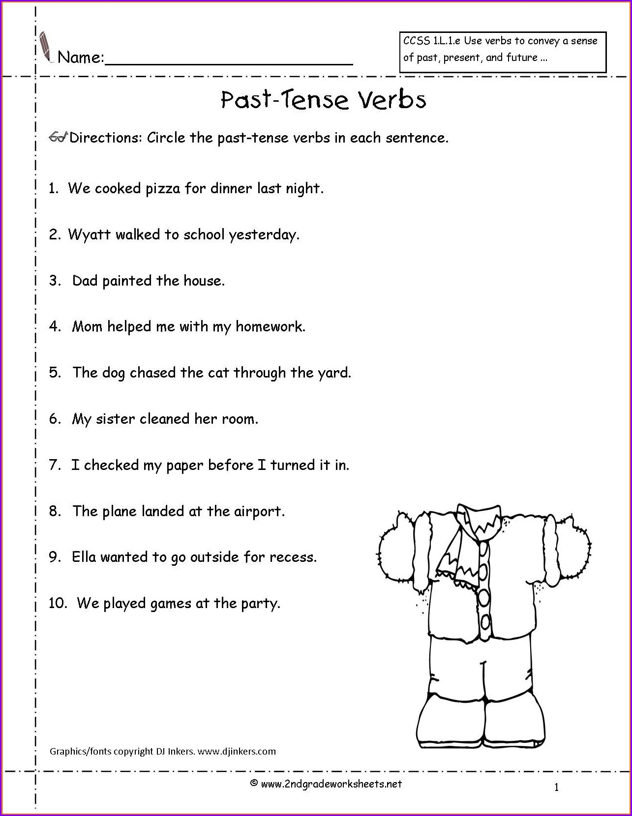 English Worksheet For Grade 2 Past Tense Worksheet