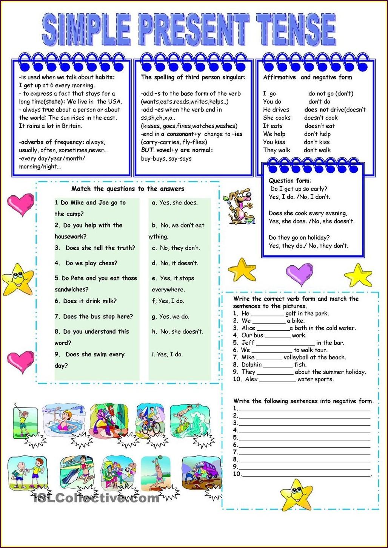Present Tense Verbs Worksheet Grade 2 Worksheet Resume
