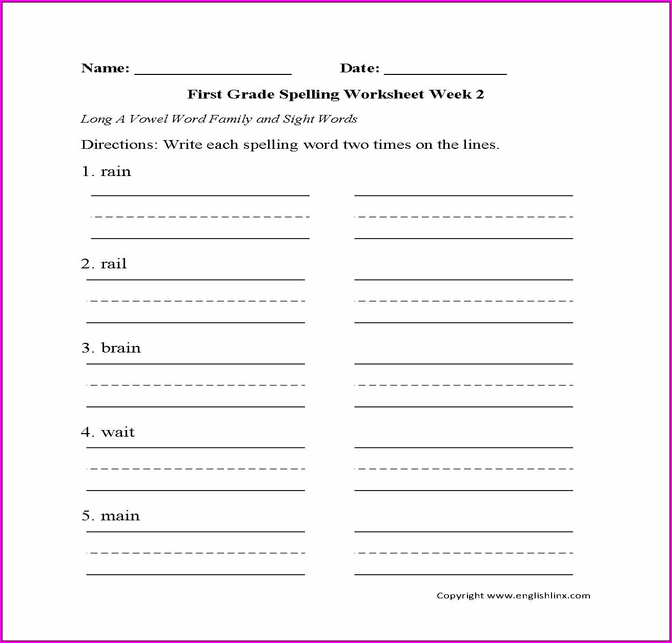 First Grade Long Vowel Worksheets Worksheet Resume