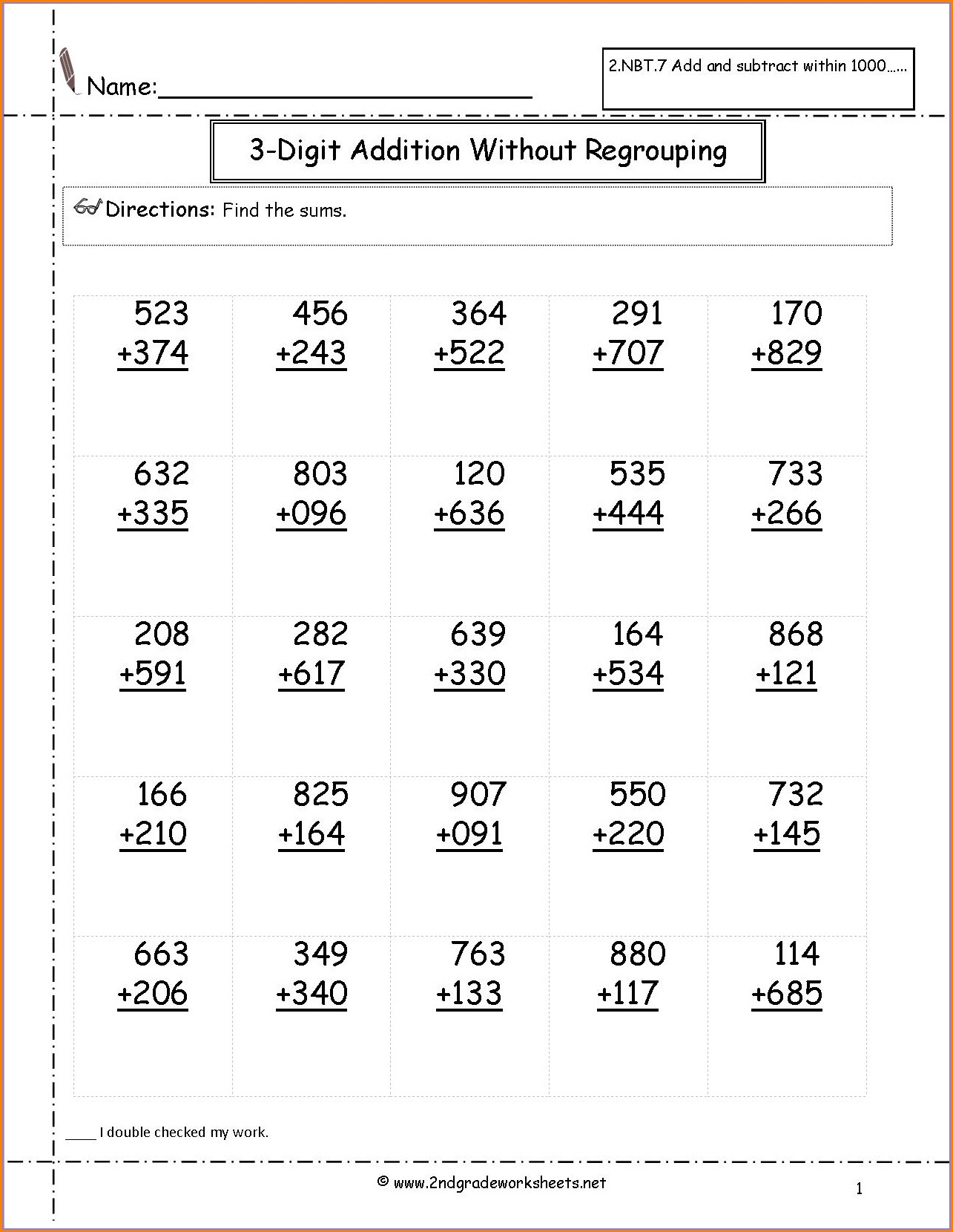 Computation Worksheet Grade 2