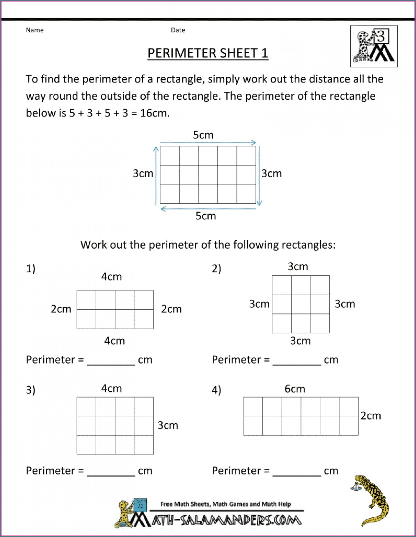 Wordp Area Perimeter Worksheet 3rd Grade