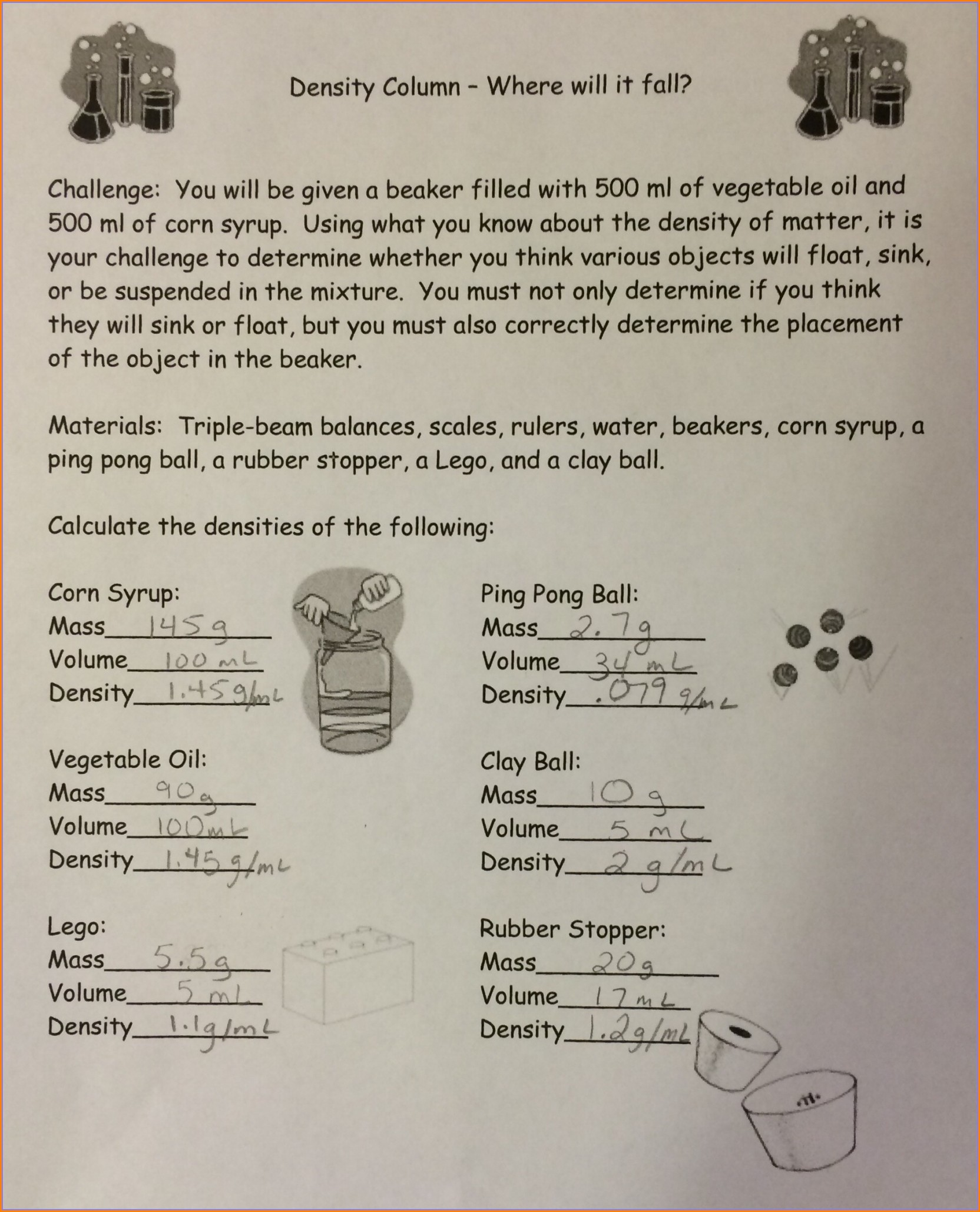 Density Worksheet With Answers Middle School Worksheet