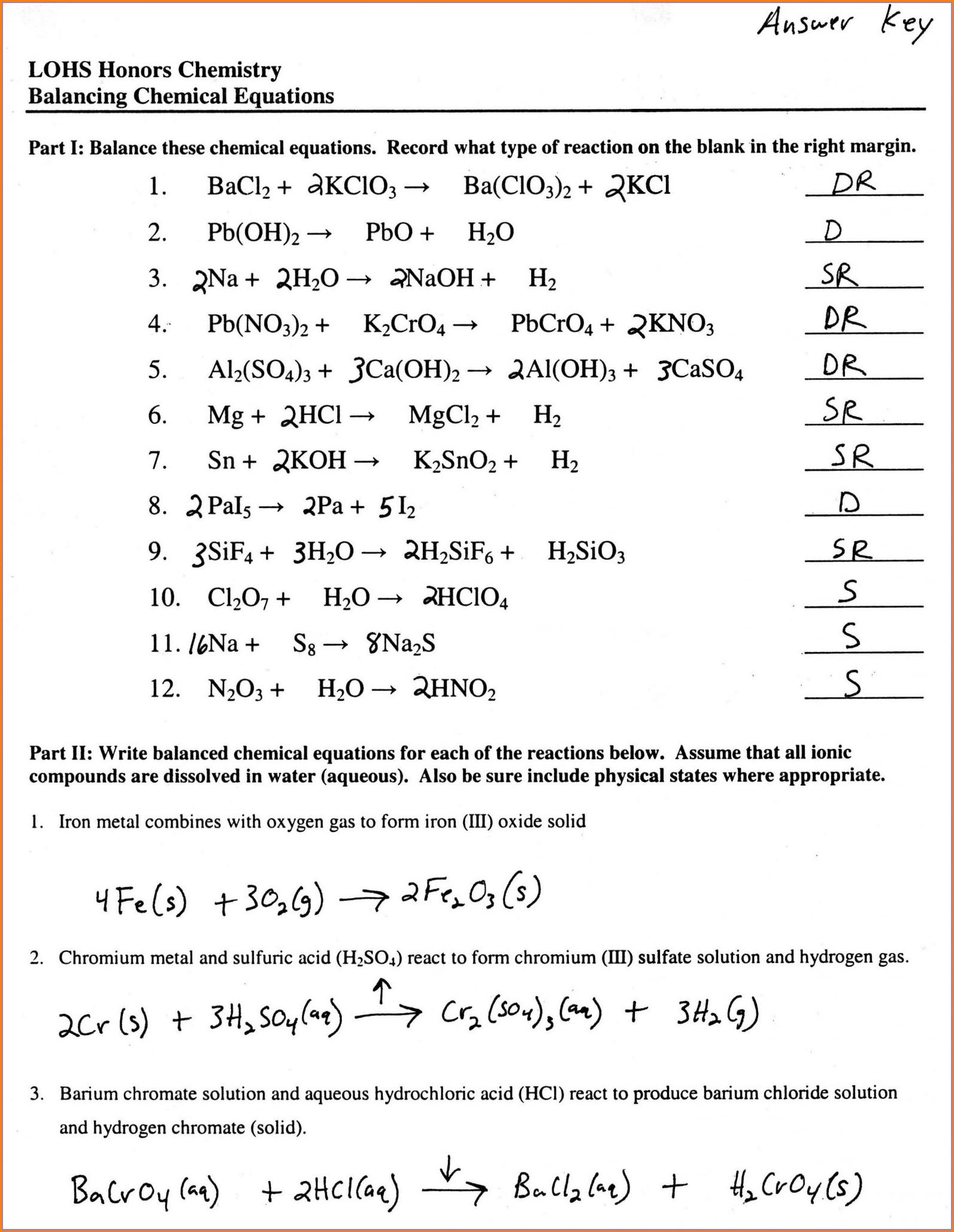 Answer Key To Word Equations Worksheet Worksheet Resume