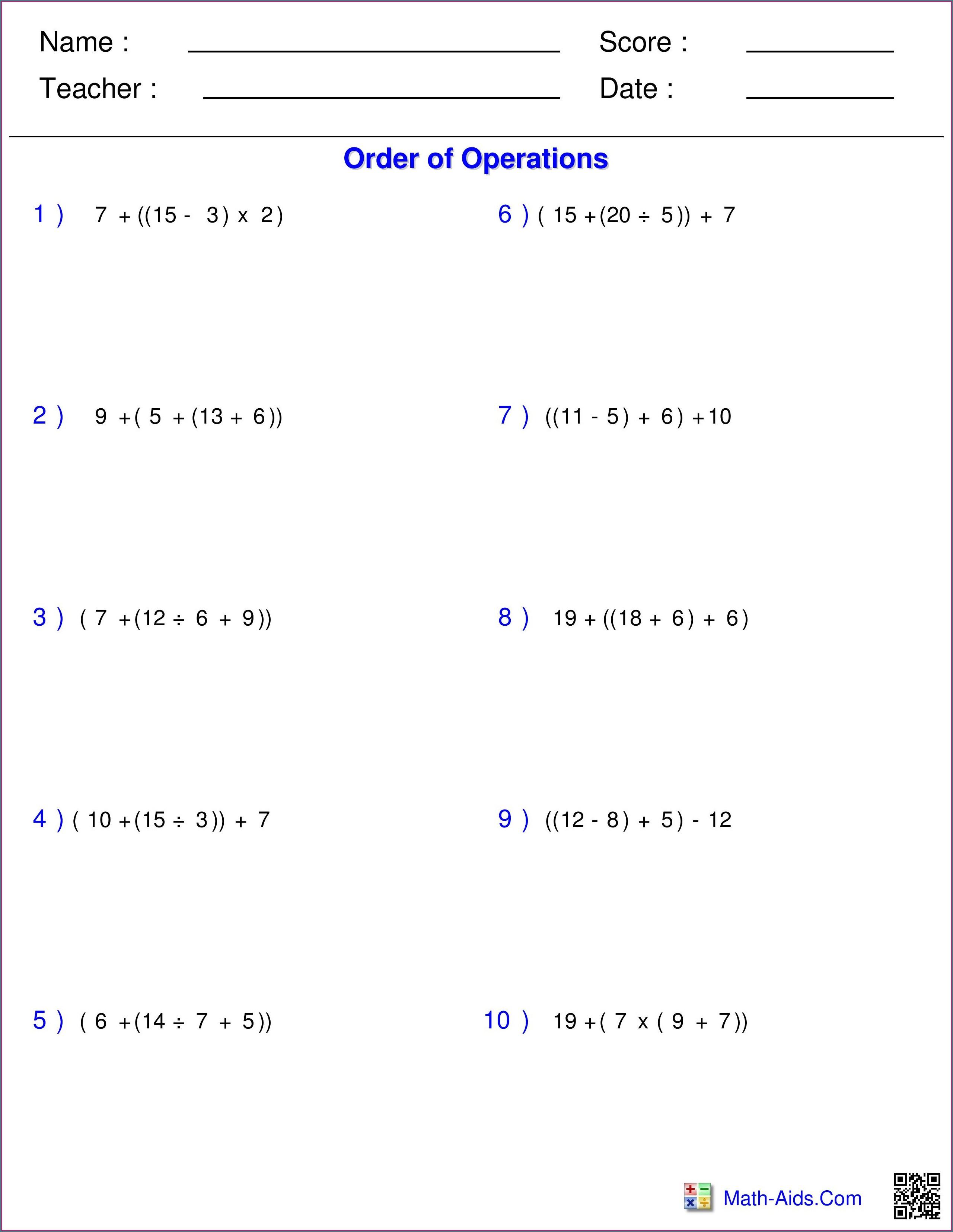 Order Of Operations Worksheet Year 3 Worksheet Resume