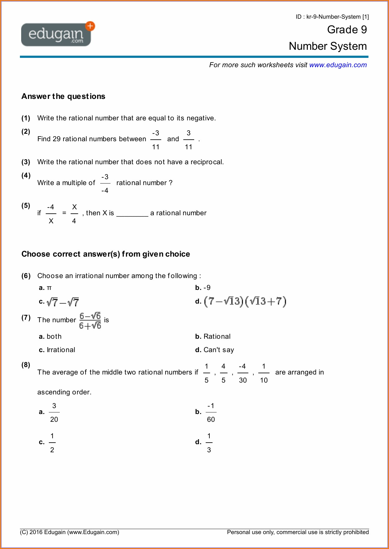 hight resolution of Rational Irrational Numbers Worksheet   Printable Worksheets and Activities  for Teachers