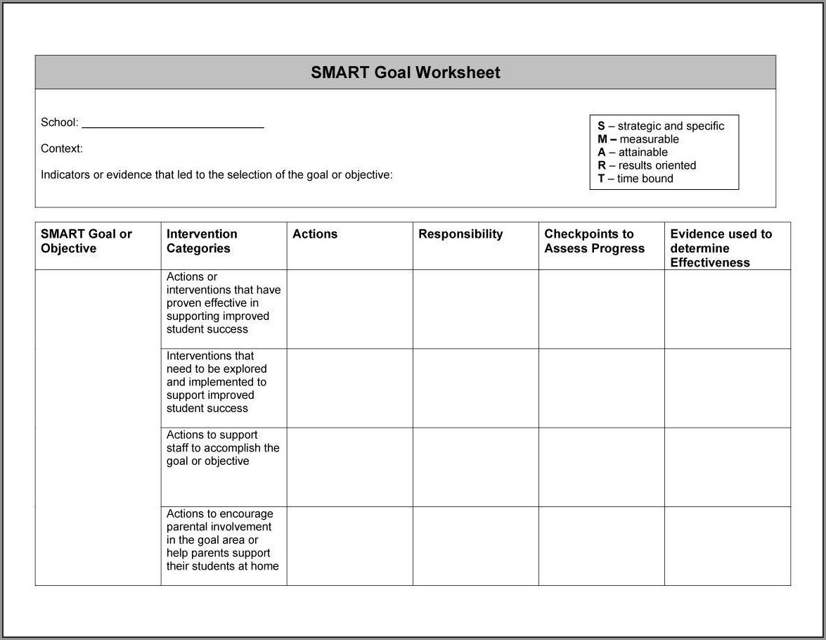 Smart Goals Worksheet For Employees Worksheet Resume
