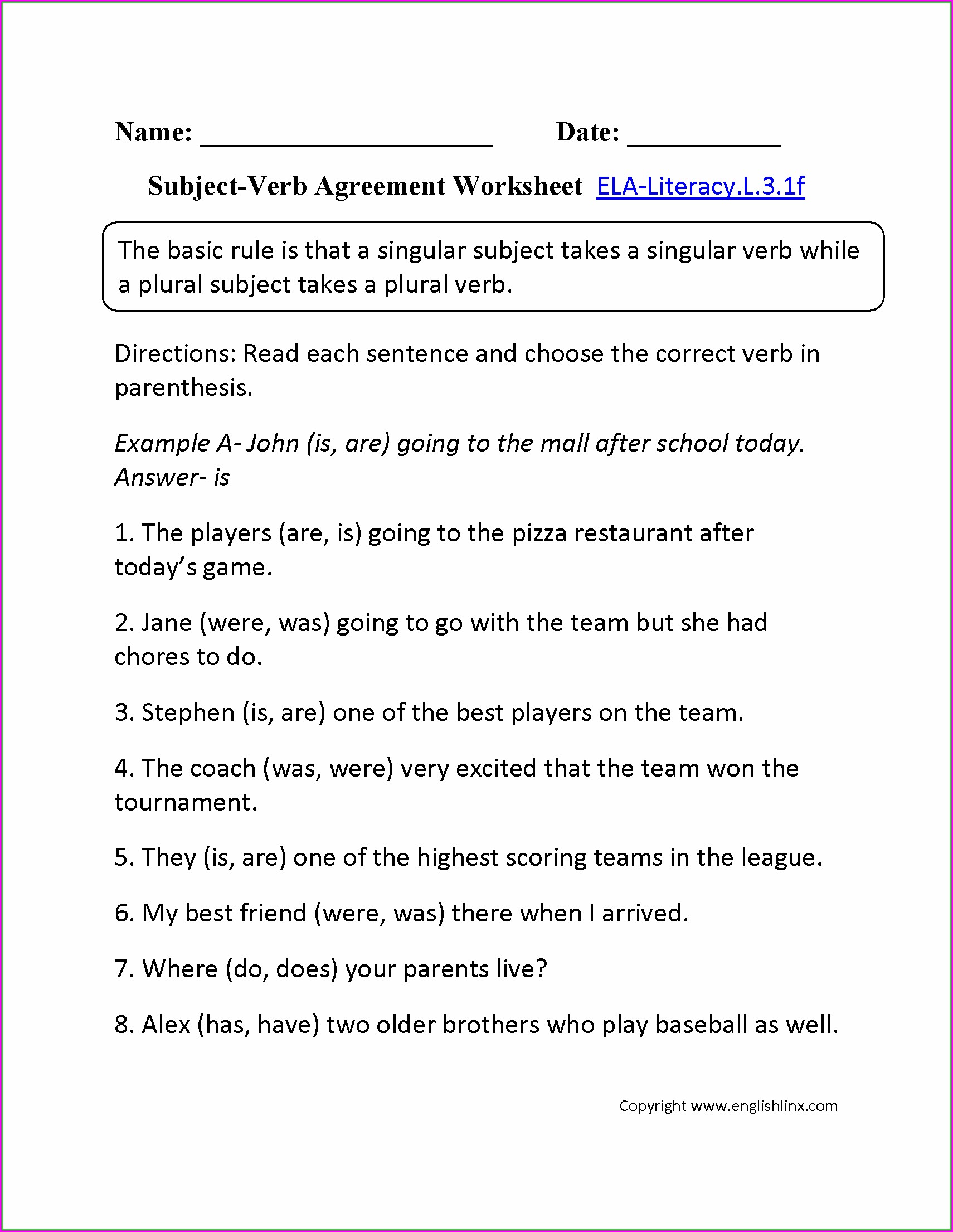 Subject Verb Agreement Quiz With Answer Key Worksheet