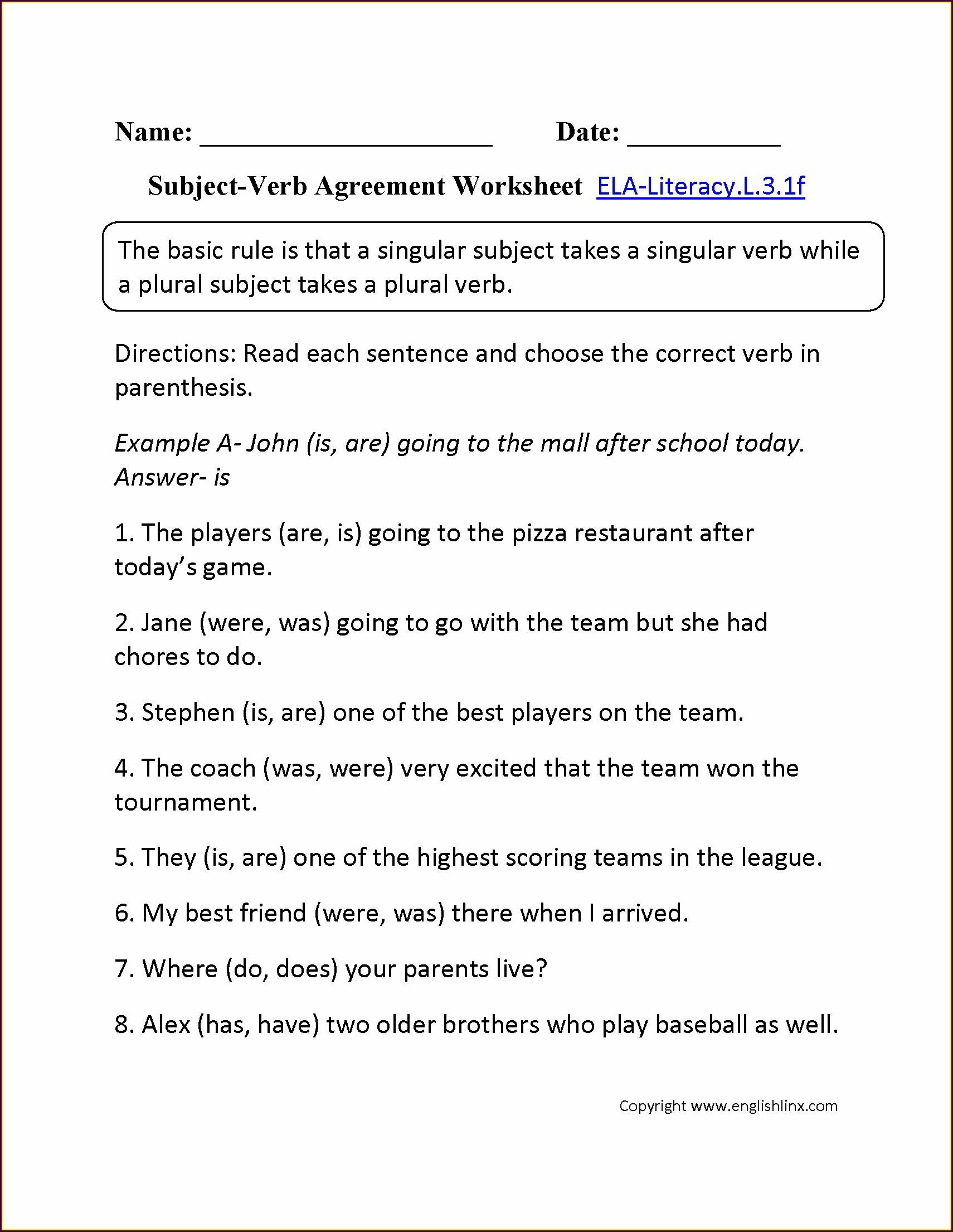 Subject Verb Agreement Worksheet For Grade 9 Worksheet