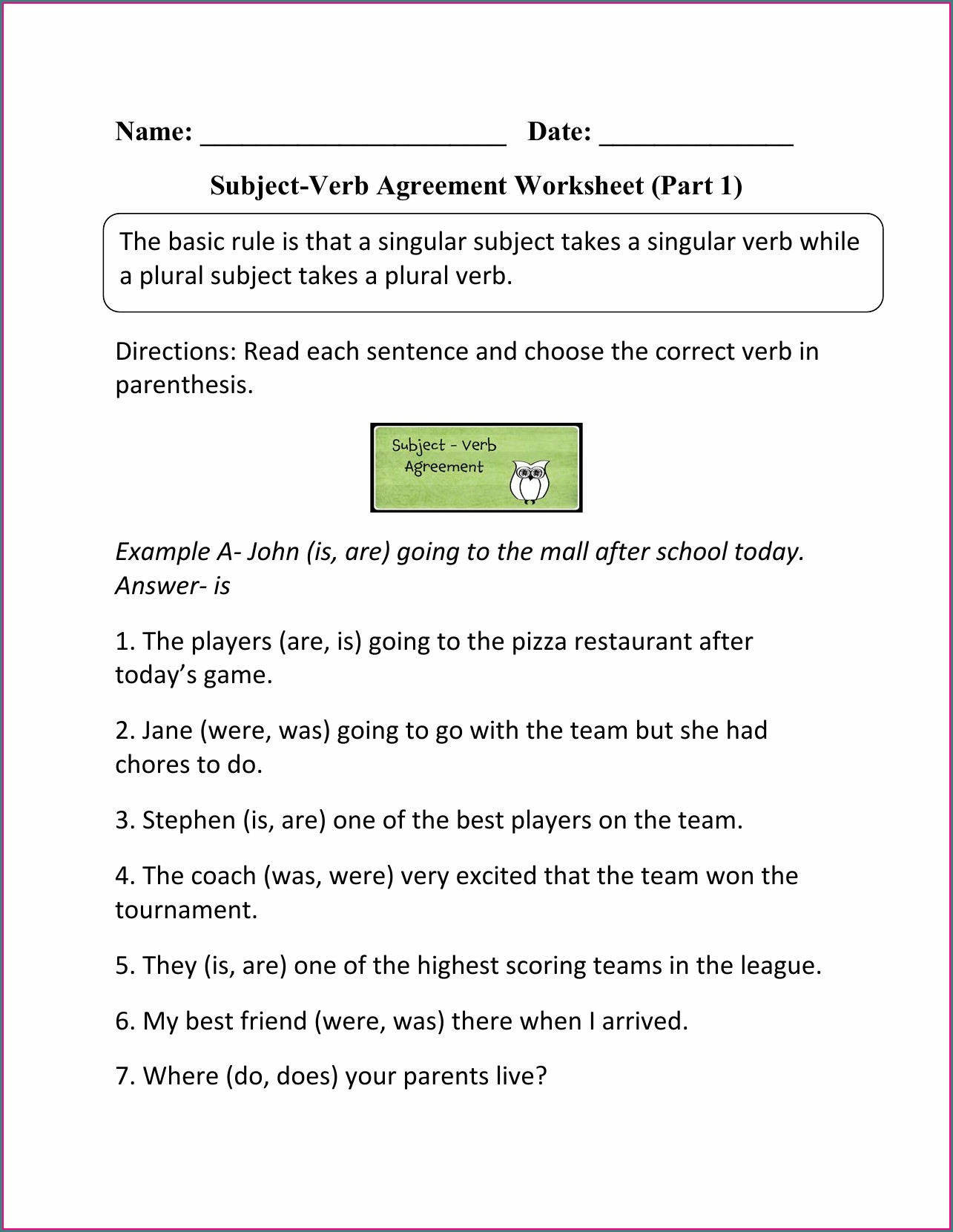 Subject Verb Agreement Worksheet Second Grade Worksheet